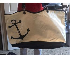 Thirty-one Canvas Crew tote in Navy Anchor NEW wot